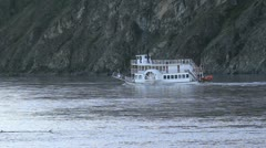 Yukon River boat up stream Canada gold country P HD 1440 Stock Footage