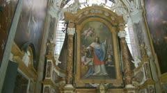 Painting (1) Inside San Luigi dei Francesi, Rome Stock Footage