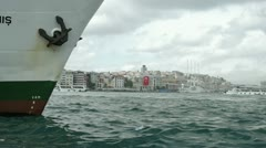 ISTANBUL, TURKEY: View to the Kabatash pier through the Golden horn inlet. Stock Footage