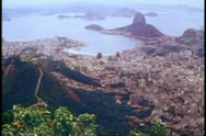 Stock Video Footage of Rio de Janeiro 1982, wide shot from Corcovado down to the city below