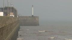 Harbor Sea Wall Stock Footage