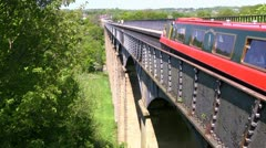 Pontcysyllte aqueduct over River Dee, Wales Stock Footage