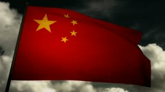 Flag China 02 Stock Footage
