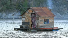 Yukon River houseboat fast motion P HD 1447 Stock Footage