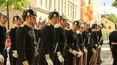 Swedish Royal guard at ease Stock Footage