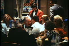 QE2 Columbia Dining Room, 1982 QE2 World Cruise, crowd dining, formal - stock footage