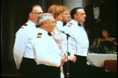 Captain's cocktail party, 1982 QE2 World Cruise, Captain Peter Jackson Stock Footage