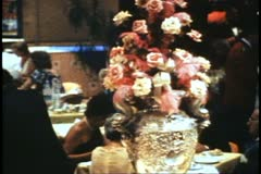 QE2 Columbia Dining Room, 1982 QE2 World Cruise, silver trophy cup - stock footage