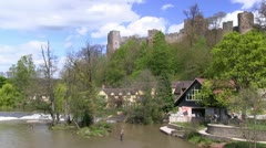 Fishermen in River Teme by Ludlow Castle, Shropshire Stock Footage