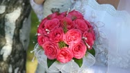 Pink bridal bouquet. Stock Footage
