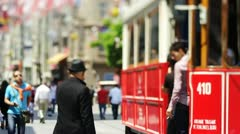 ISTANBUL, TURKEY: İstiklal Avenue and historical tram. Stock Footage