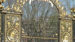 Golden Park Gates Stock Footage