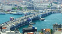 ISTANBUL, TURKEY: Aerial view of Galata bridge was shot using Tilt&Shift lens. Stock Footage
