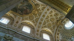 Movining shot Inside San Luigi dei Francesi, Rome Stock Footage