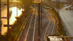 Istanbul modern tram moving down in old town at sunset. Shot using tilt&shift Stock Footage