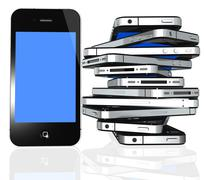 More iPhone 4s isolated on white - stock illustration