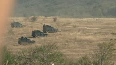 Army in combat, vehicles preparing for battle Stock Footage