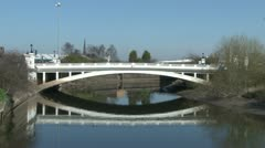 Road Bridge River Reflection Stock Footage