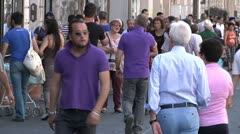 Stock Video Footage of crowed walkway in Sicily, Catania
