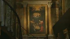 Inside San Luigi dei Francesi church, Rome (4) Stock Footage