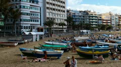 Beach of the Canteras timelapse Stock Footage
