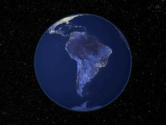 South america at night, satellite image Stock Photos