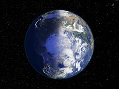 the arctic, night-day satellite image - stock photo