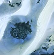 Libyan desert outcrop, satellite image Stock Photos