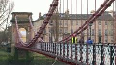 Suspension Footbridge Stock Footage