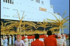 QE2, 1982 World Cruise, Sultan of Selangor gets off ship at Kuala Lumpar Stock Footage