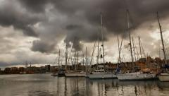 Taking care of the yacht mast in the marina time lapse Stock Footage