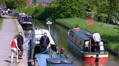 People traveling in canal boats on the Llangollen canal Stock Footage