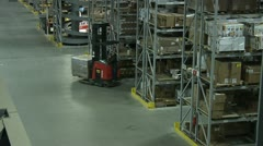 FORKLIFTS IN WAREHOUSE Stock Footage