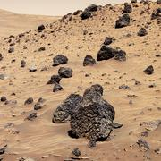 martian rocks, true-colour image - stock photo