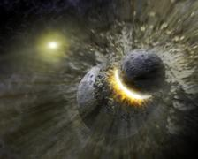 planetary collision - stock illustration