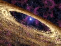 planetary disc around a pulsar, artwork - stock illustration