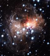 Light echoes around star v838 monocerotis Stock Photos