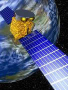 computer art of communication satellite over earth - stock illustration