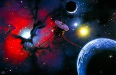artwork of a space probe approaching trifid nebula - stock illustration