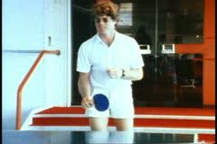 Ping pong game, man playing Stock Footage