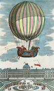 First hydrogen balloon flight, 1783 Stock Illustration