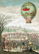 Early hot air balloon flight, 1784 Stock Illustration