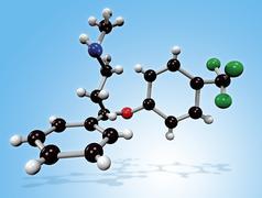 fluoxetine drug molecule - stock illustration