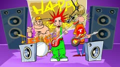 Rock band says happy birthday. Stock Footage