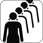 female queue symbol, artwork - stock illustration