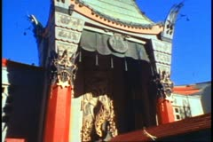 Chinese Theater, medium shot, tilt up, no people, center tower Stock Footage