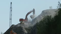 Cliffside Excavation Dust and Dozer 2 Stock Footage