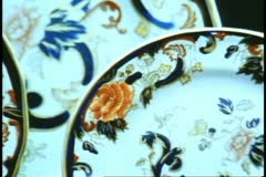 QE2 shops, Royal Worcester China, close up, zoom out medium shot - stock footage