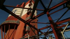 Steel construction against the sky at the plant Stock Footage