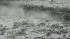 The river in flooding after heavy rains and typhoon Stock Footage